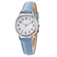 Арабские цифры леди стиль для женщин часы ярких цветов бретели для нижнего белья кожаный ремешок Простой циферблат
