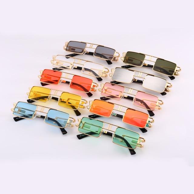 Peekaboo mens rectangular sunglasses steampunk men metal frame gold black red flat top square sun glasses for women 2018 5