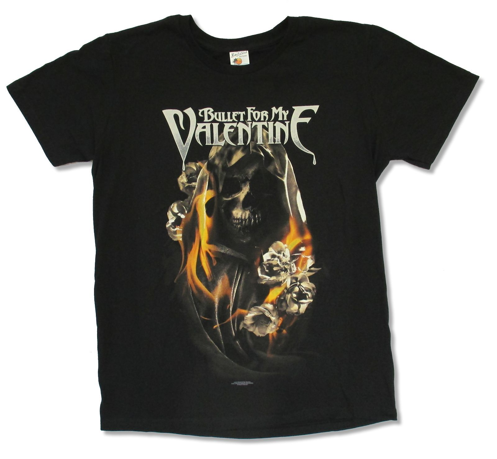 BULLET FOR MY VALENTINE BURNING ROSES BLACK SHIRT NEW OFFICIAL ADULT