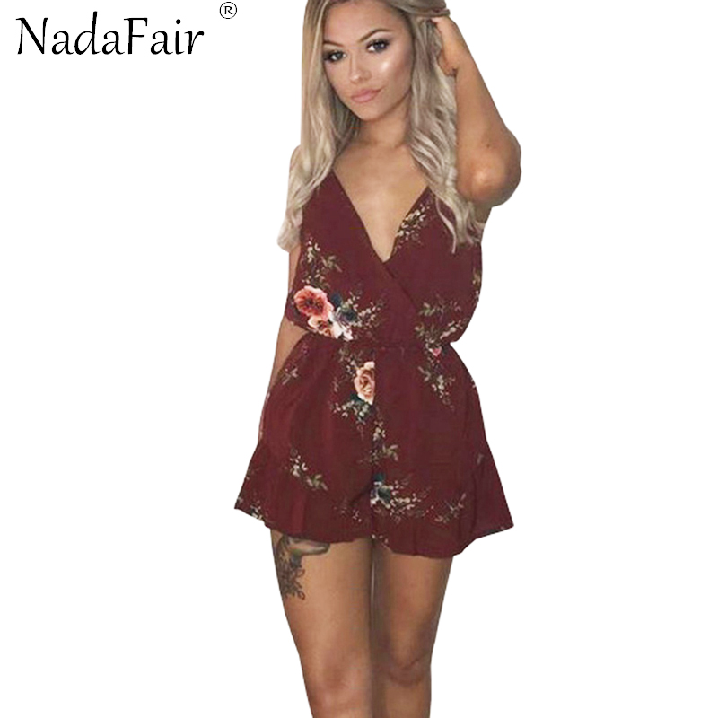 592e32f76e6e Nadafair Strap Deep V Neck Backless Sexy Rompers women Jumpsuits Casual  Playsuits