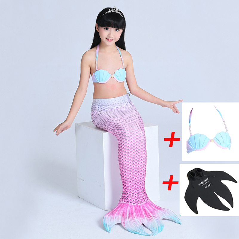 3 pcs Mermaid Tail kids With Monofin For Swimming Mermaid Tails Girls Dress Costumes 2018 Children Swimmable Mermaid Bikini Set 2 piece girl s mermaid tails for swimming costume with monofin for kids girl swimmable mermaid tail dress w fin cosplay 2017 new