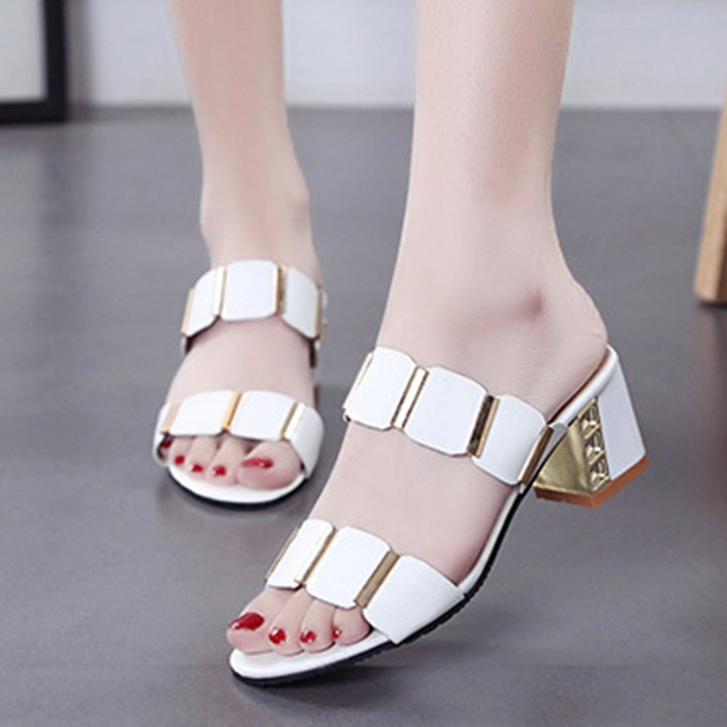 Plus Size 2019 Summer Shoes Woman Slippers Peep Toe Slipper High Heels Pumps Dress Shoes White Slides Ladies Shoe N7195 slipper