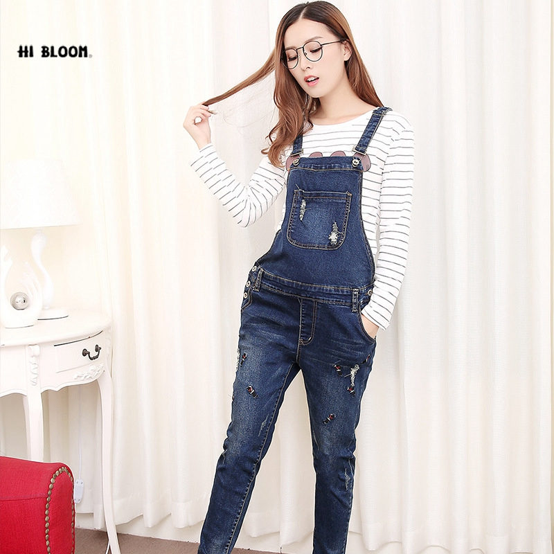 HI BLOOM Maternity Clothing Pants Spring Autumn cotton Jeans Plus Size Overalls Pregnant Women`s Large Size Suspender Trousers colorful brand large size jeans xl 5xl 2017 spring and summer new hole jeans nine pants high waist was thin slim pants