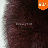 Luxury Fabric Style 3 Material Stuff Leather Fox Real Fur Wine Red Color Good Quality Garment