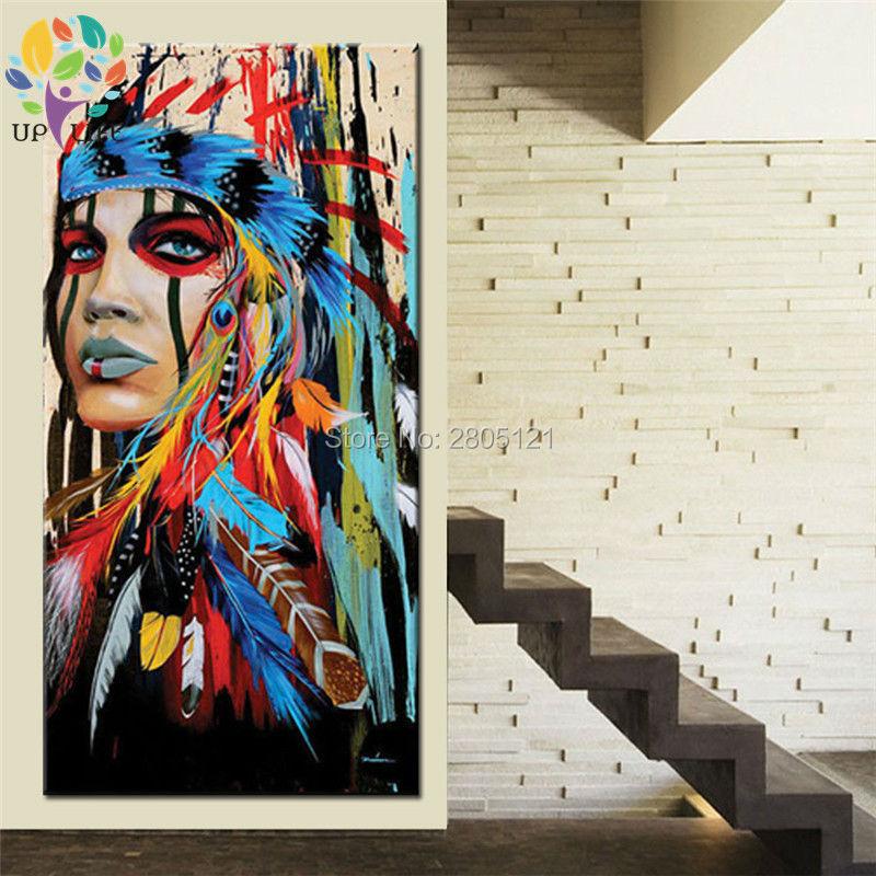 100% pictură în ulei american nativ american idian pictură în - Decoratiune interioara - Fotografie 3