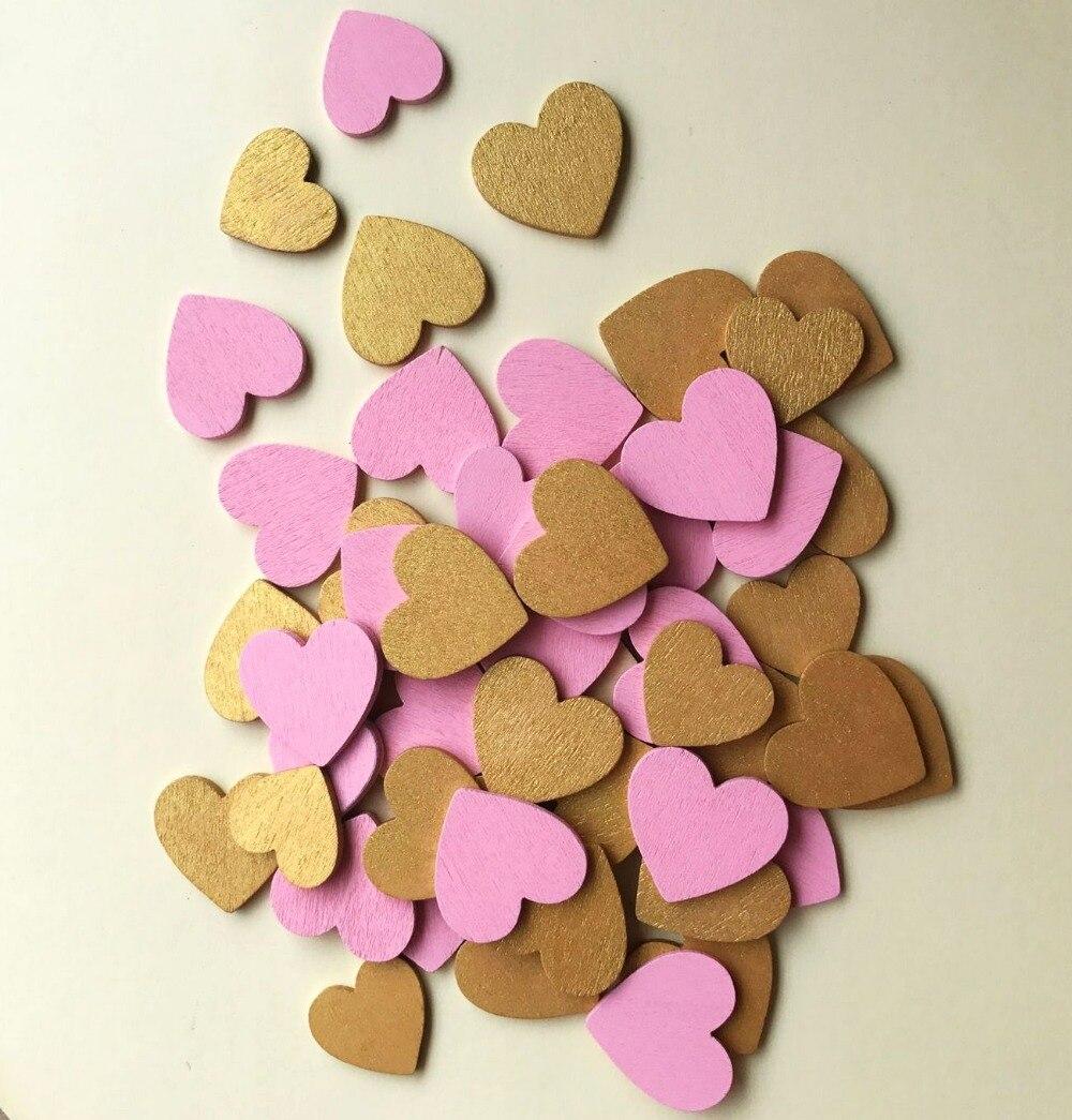 100pcs Pink Gold Wooden Love Heart wedding favor wedding table ...