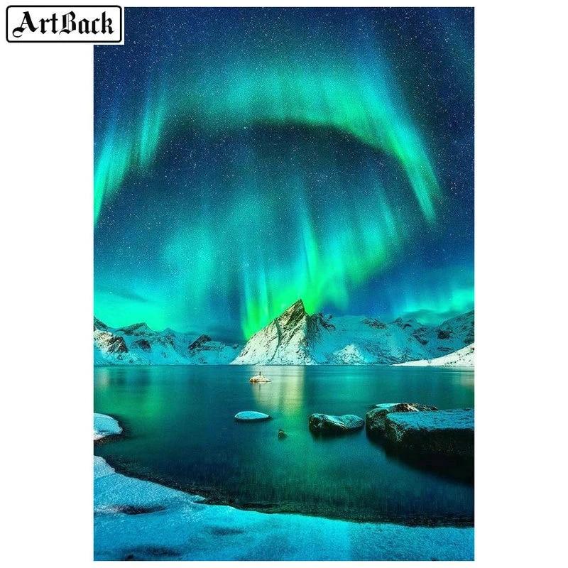 5D Full Drill Diamond Painting Aurora Scenery Embroidery DIY Art Wall Decoration