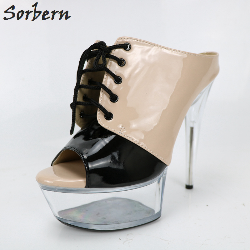 Sorbern Khaki Mules Ladies High Heels Slippers Women Outdoor Slides Custom Colors Open Toe Lace Up See Through Perspex Heels trendy see through off the shoulder long sleeve lace blouse for women