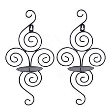 Iron Candle Holders Sconce Hanging Wall Art Candlestick for Decoration Weddings Candle Holder Wedding Centerpieces 8A0987(China)
