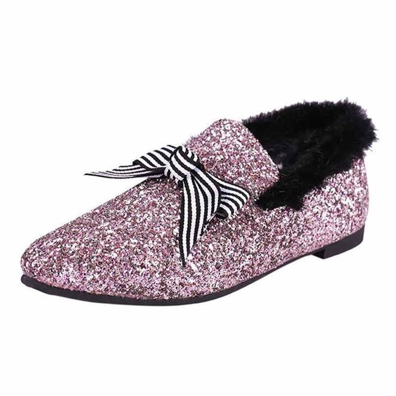 Tangnest Bling NIEUWE vrouwen Ballet Flats Faux Fur Platte Loafers Vlinder-knoop Flats Warme Winter Sneeuw Schoenen Maat 36 ~ 40 XWD6268