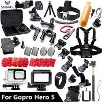 Gopro Accessories Set Gopro Hero 5 Waterproof Protective Case Chest Mount Monopod For Gopro Hero 5