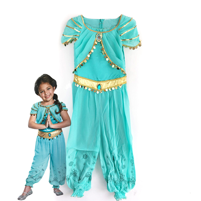ktlparty halloween party cosplay kid children girl princess jasmine costume aladdins lamp clothes clothingchina - Halloween Jasmine