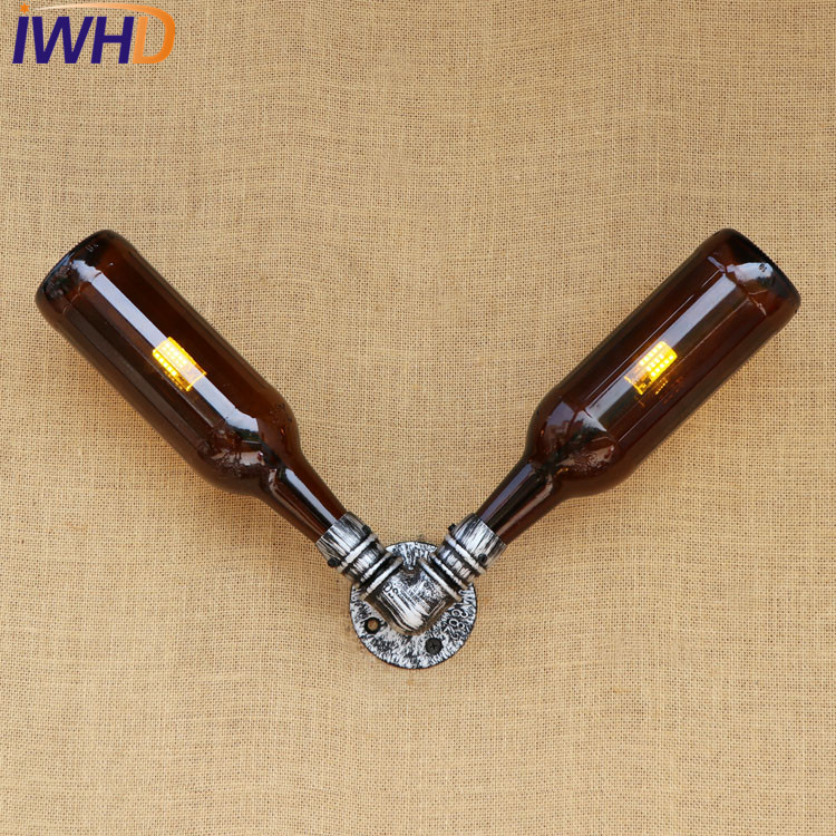 IWHD Antique Glass Bottle Water Pipe Lamp Industrial Wall Sconce LED Loft Style Vintage Wall Light Fixtures Indoor Lighting iwhd american style iron glass wall sconces industrial vintage wall lamp european led wall light fixtures indoor lighting