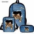 INSTANTARTS Детский Рюкзак Mochila 3D милый синий джинсовый рюкзак с животным рисунком кота для девочки-подростка 3 шт./компл. большие школьные сумки н...