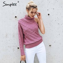 Simplee Turtleneck one shoulder knitted sweater women Fashion twist pullovers female Sexy autumn winter sweater high street 2018(China)