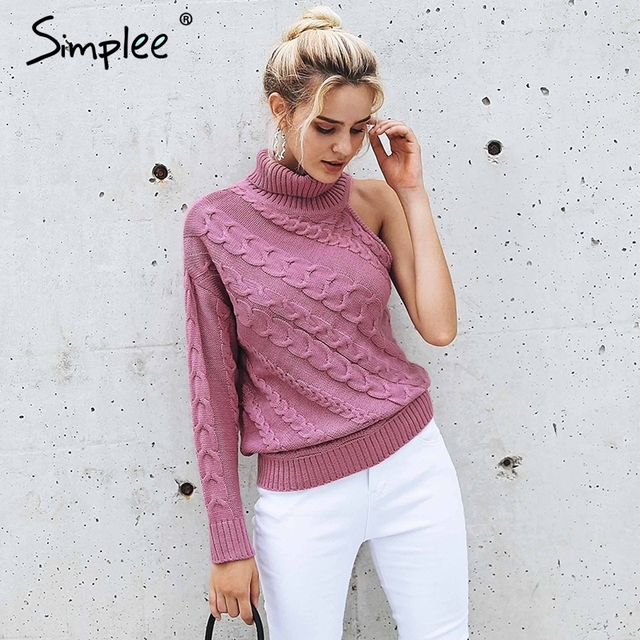 6f2d9c17dd Simplee Turtleneck one shoulder knitted sweater women Fashion twist  pullovers female Sexy autumn winter sweater high