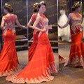 3455 S de Luxo Sheer Pescoço Longo Vermelho Vestidos de Festa À Noite Elegante Applique Lace Frisada Formal Sereia Vestidos de Baile 2017