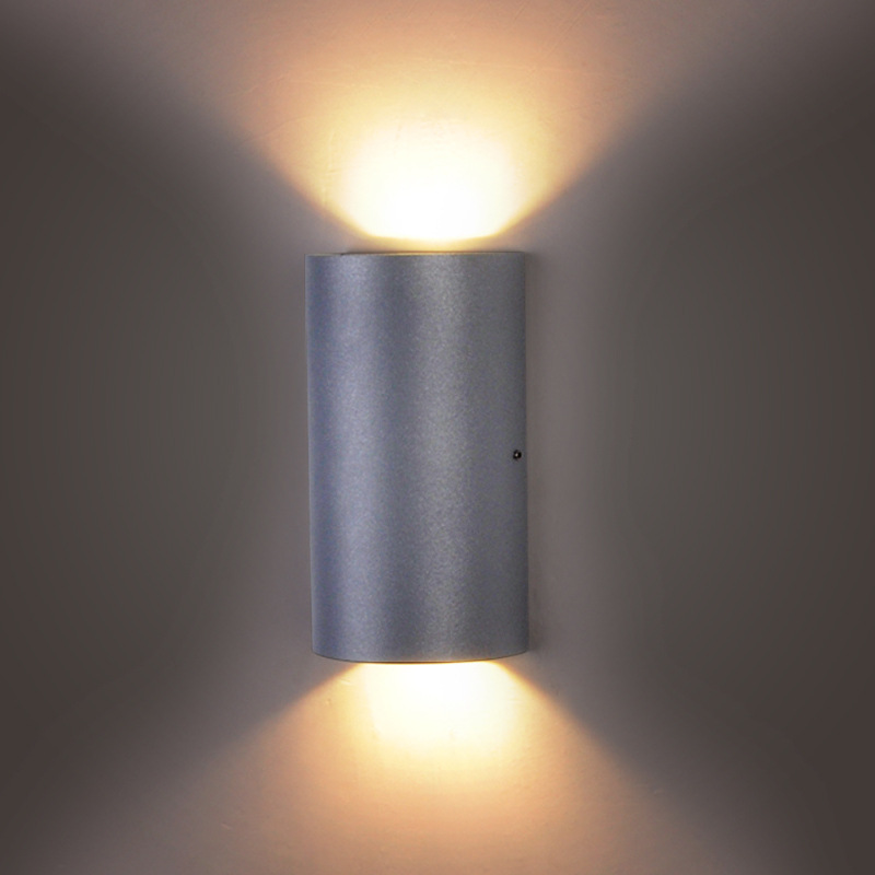 LED Garden Lighting Wall Aisle Bathroom Lamp Outdoor LED Wall Sconce IP65 Wall Lamp Up Down Light cylinder Stair Light Grey Body