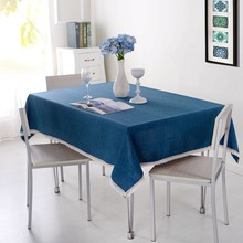 Solid Color Decorative Tablecloth Imitation Linen Lace Table Cloth Dining Table Cover Home Decoration(China)