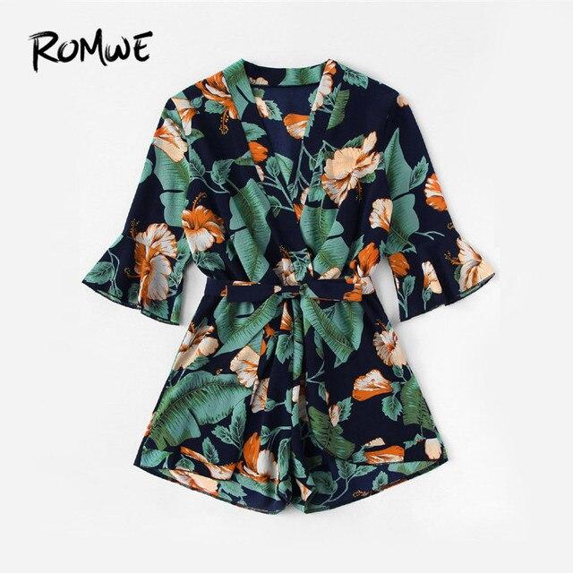 ROMWE Fluted Sleeve Floral Print Surplice Romper With Belt Women Summer Vocation Three Quarter Floral V neck Romper 1