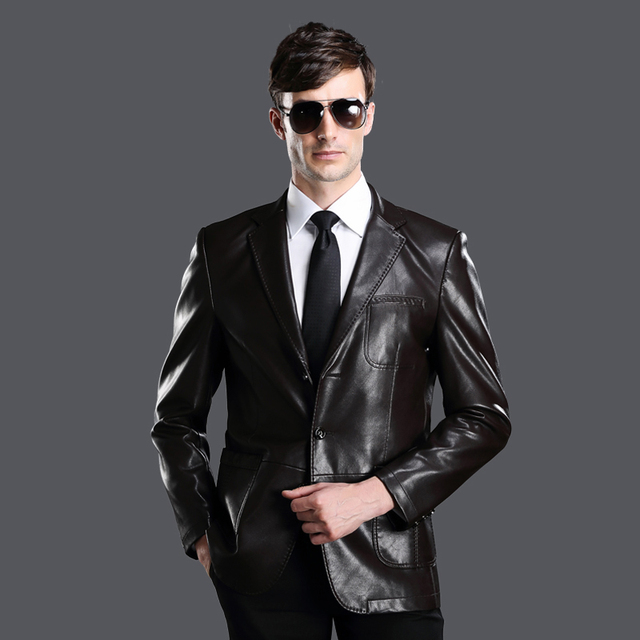 High quality leather clothing male sheepskin suit men's slim  leather jacket suit  abrigo de cuero manteau de cuir