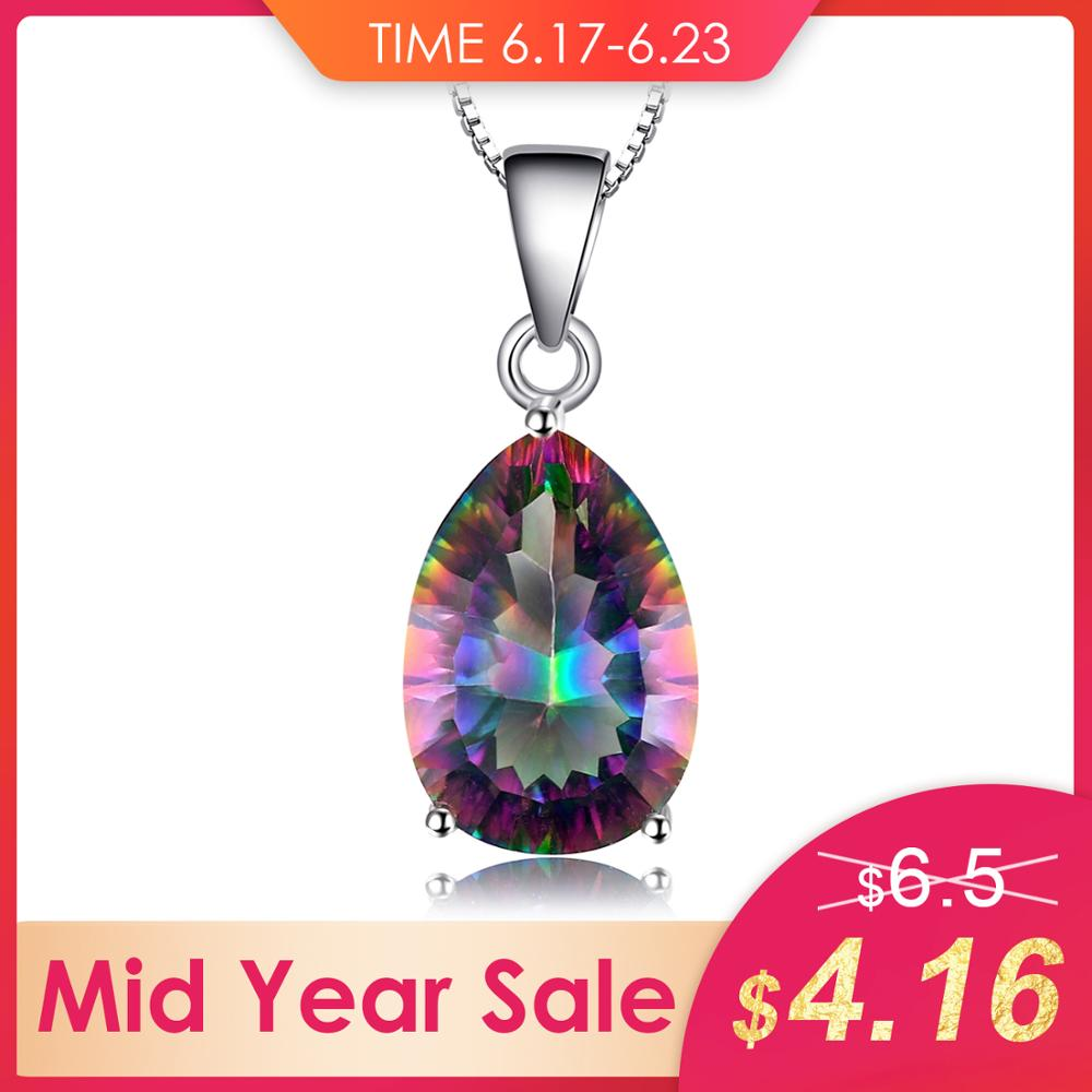 JewelryPalace 4ct Genuine Multicolor Rainbow Fire Mystic Topaz Pendant Pear Pure 925 sterling Silver Brand New Without ChainJewelryPalace 4ct Genuine Multicolor Rainbow Fire Mystic Topaz Pendant Pear Pure 925 sterling Silver Brand New Without Chain