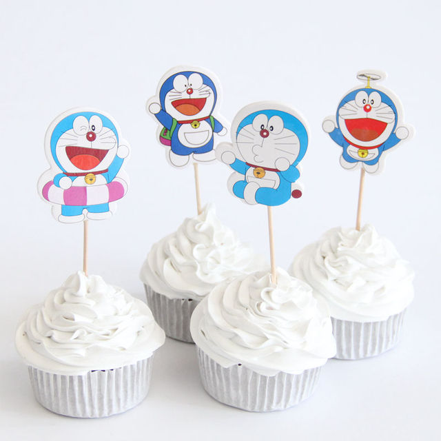 24pcs/lot Doraemon Theme Party Supplies Cartoon Cupcake Topper Kids Boy  Birthday Party Decorations