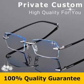 2016 Fashion Eyeglasses for Men Rimless Myopia Prescription Glasses Online Square Optical Anti Radiation Glasses Computer 612