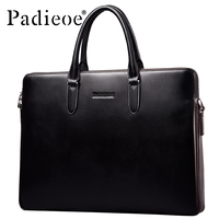 Padieoe 2017 New Business Men S Briefcase Famous Brand High Quality Genuine Leather Briefcase Laptop Notebook