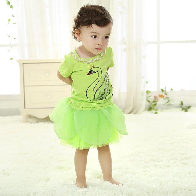 ba07a457372fe أحدث واحد العام سوان طفل توتو فساتين الأخضر المتدرج الصيف أزياء تصميم طفل  صغير طفلة vestidos الملابس SBD154001