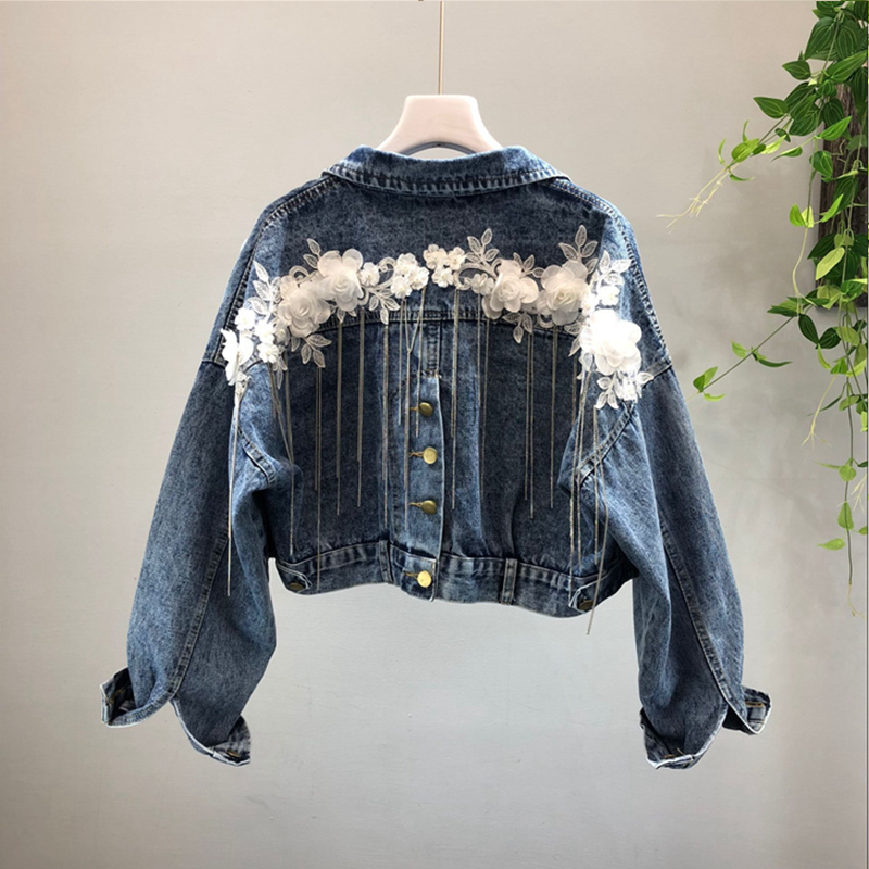 2018 Autumn Women   Basic     Jackets   Short Denim   Jacket   Long Sleeve Flower Appliques Jean Coats Single Breasted Outerwear Coats z48
