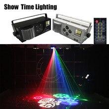 Schnelle Lieferung Fernbedienung LED 4 in 1 Gobo Laser Strobe Wirkung Farbe 4 Augen Bild Licht Gute Verwendung Für home Entertainment KTV