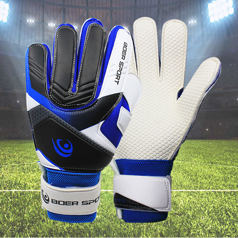Professional Teenager Men\'s Goalkeeper Anti-skid 5 Finger Protection Gloves Thickened Latex Soccer Football Goalie Goal Gloves image