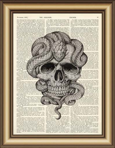 Skull with snake Dictionary wall Art Print Poster printable Canvas