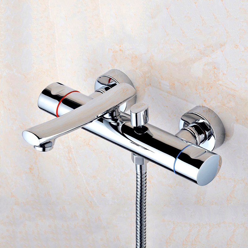 Thermostatic Rain Shower System Mixer Faucet Sets Cold and Hot Water Mixer Long Nose Wall Mounted Handheld Shower sognare new wall mounted bathroom bath shower faucet with handheld shower head chrome finish shower faucet set mixer tap d5205