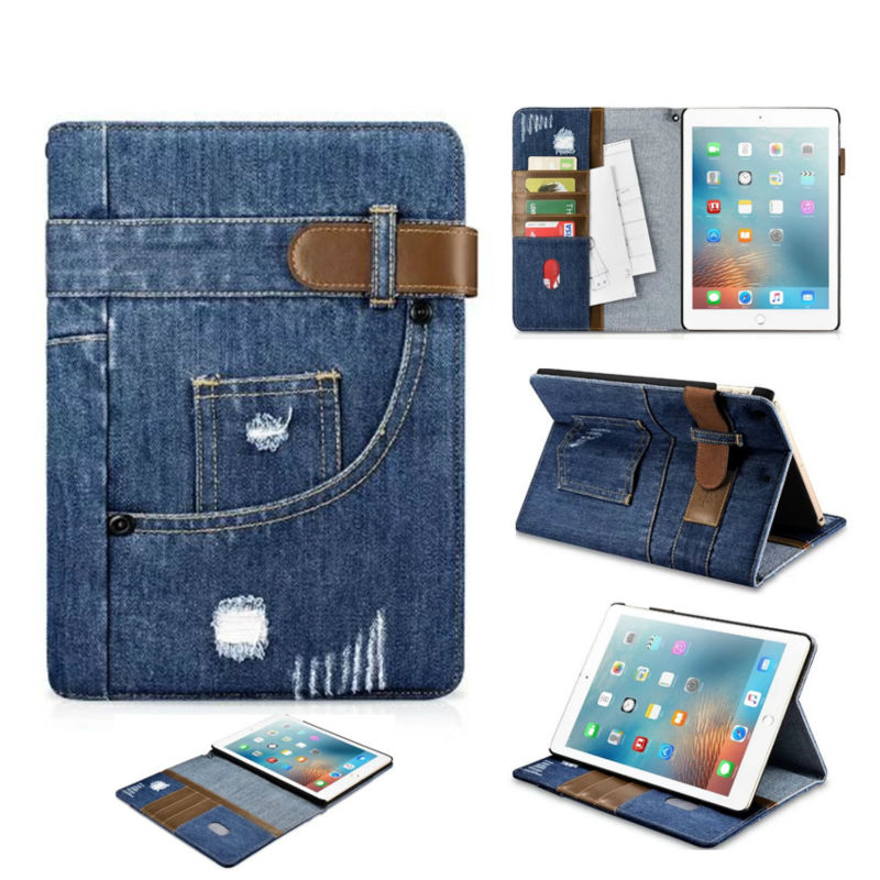 For iPad 2017 New 9.7'' Jean Leather Case Wallet Shockproof Protective Stand Skin For Apple iPad 2017 Tablet Smart Cover Fundas nice soft silicone back magnetic smart pu leather case for apple 2017 ipad air 1 cover new slim thin flip tpu protective case