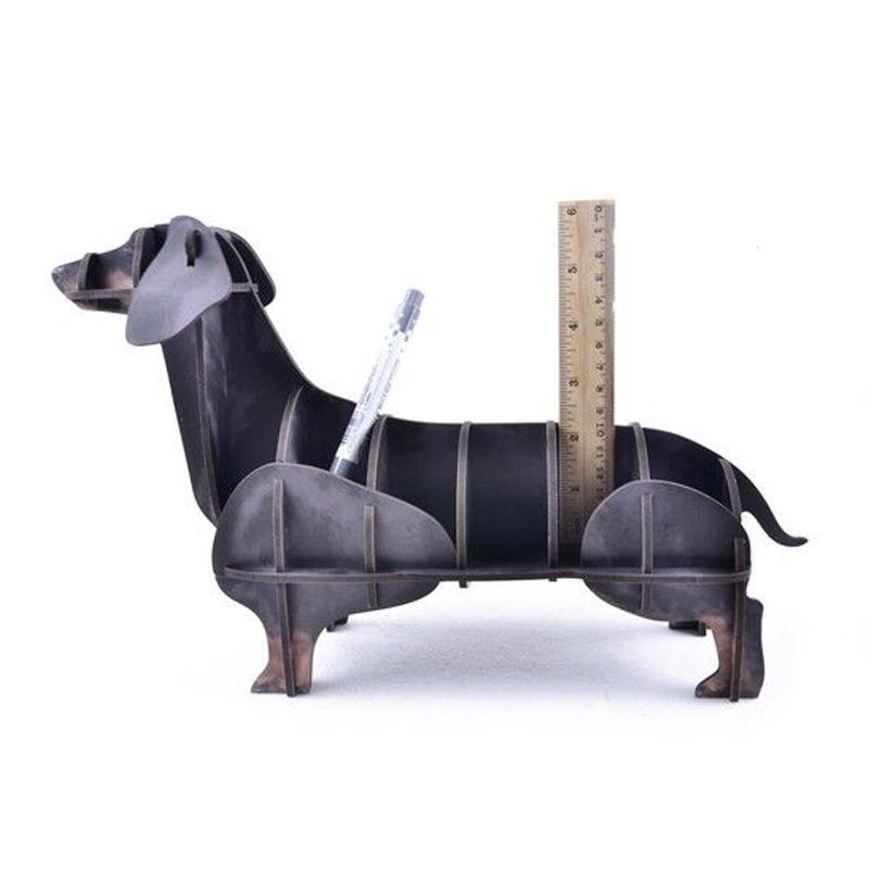 3D Wooden Animal Shape Desktop Storage Box Pen Holder Office Ornaments Cute Dog Organizer Box Wooden Crafts Gift 3