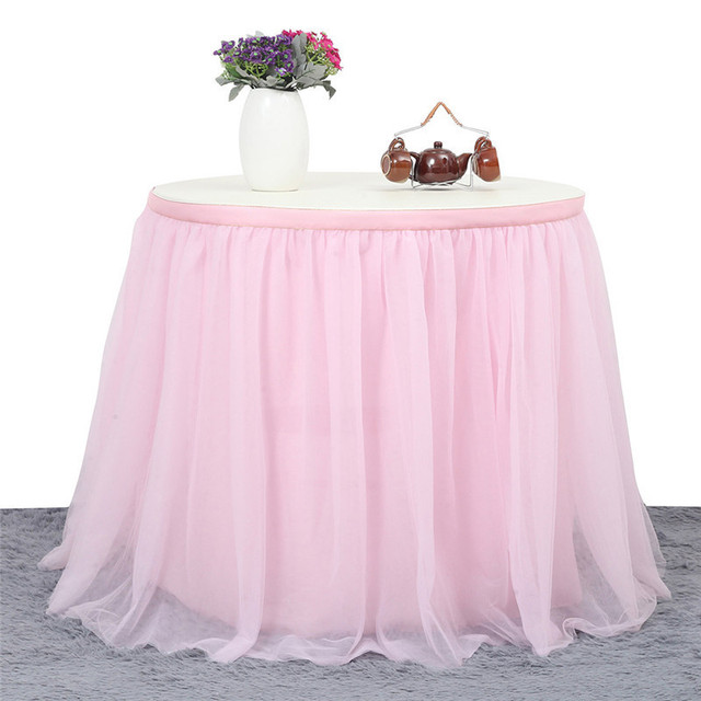 9 FT Tutu Table Skirt DIY Round Rectangle White Pink High End Decorative Party Decor Gauze Wedding Decoration