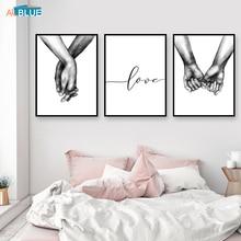Nórdico cartel blanco y negro manos impresiones de la lona amante pared fotos para habitación minimalista abstracto Decoración