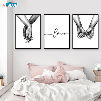 Nordic Poster Black And White Holding Hands Canvas Prints Lover Quote Wall Pictures For Living Room Abstract Minimalist Decor holding hands
