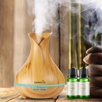 EASEHOLD 400ml Aroma Essential Oil Diffuser Ultrasonic Air Humidifier With Wood Grain 7 Color With 10ml