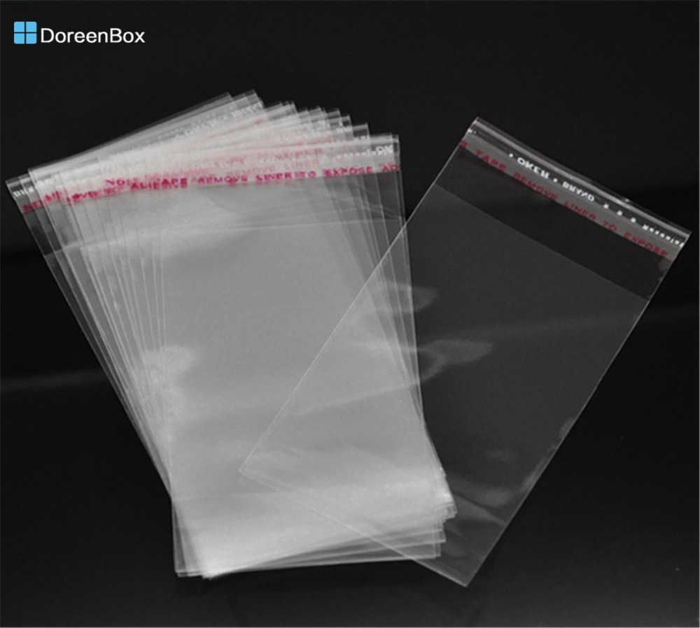 Doreen Box Hot-  200 Clear Self Adhesive Seal Plastic Bags 11x6cm (B13280)