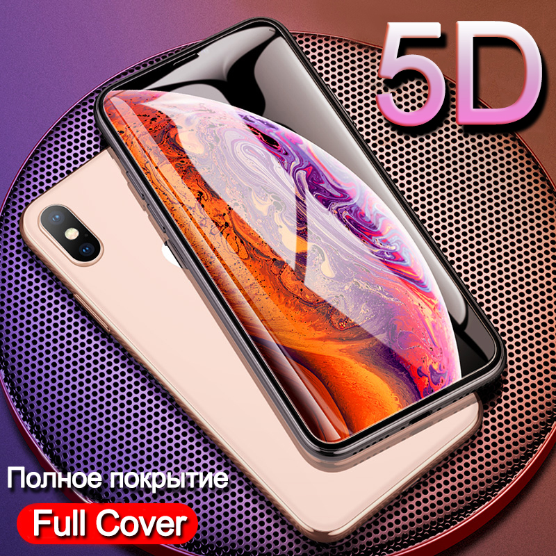 5D Full Cover Tempered Glass for iPhone XS MAX XS XR X 8 7 6 6S Plus Screen Protector Phone Film for iPhone XS MAX 8 7 6 6S