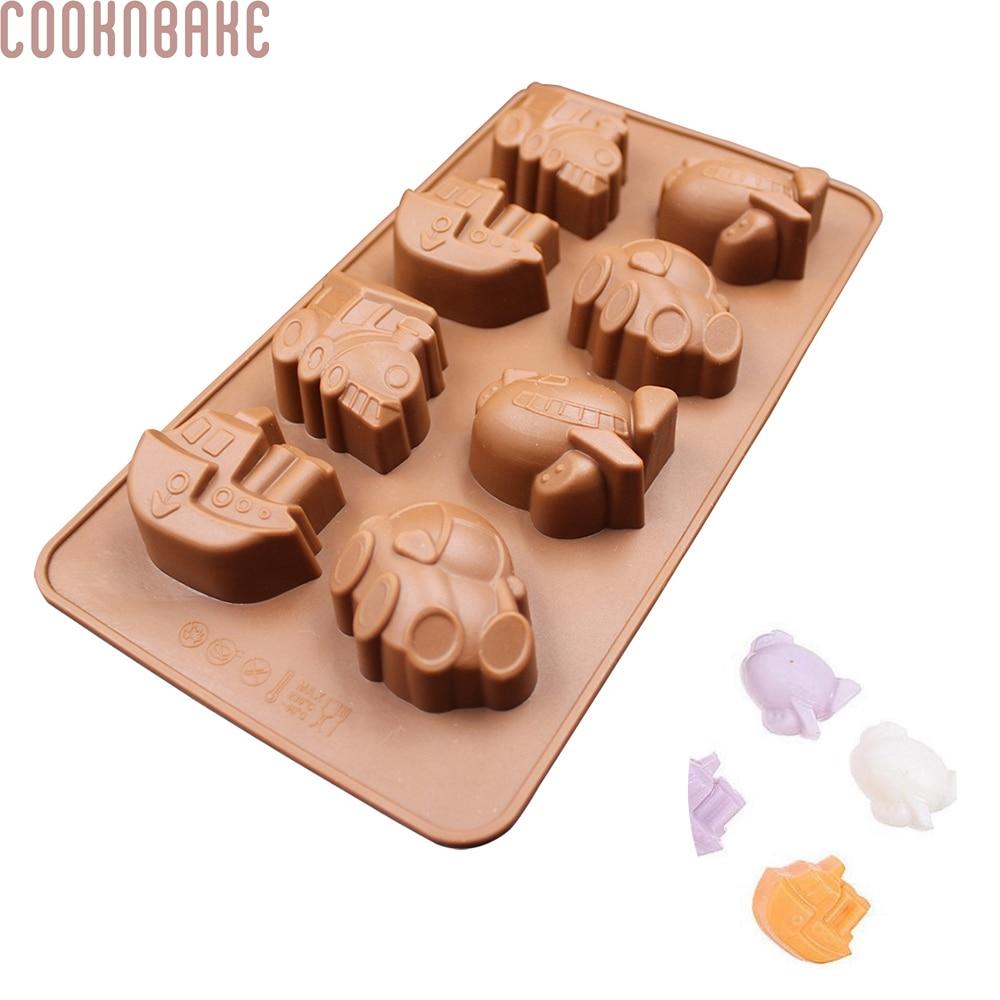 COOKNBAKE DIY Cake Baking Herramientas DIY Molde de Chocolate de Silicona 8 celosías Vehículo Vehículo Ferry diseño caramelo molde SICM-008-7