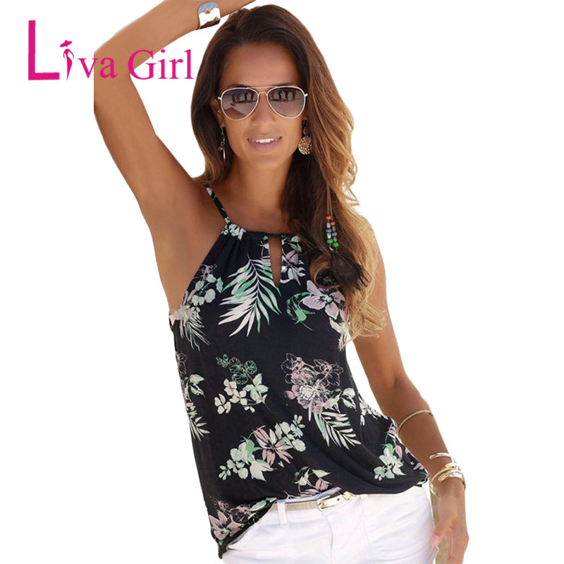 Liva Girl Black Tropical Floral Print Keyhole Front Tank Top Summer Sleeveless Halter Tops For Women 2018 Off Shoulder Top