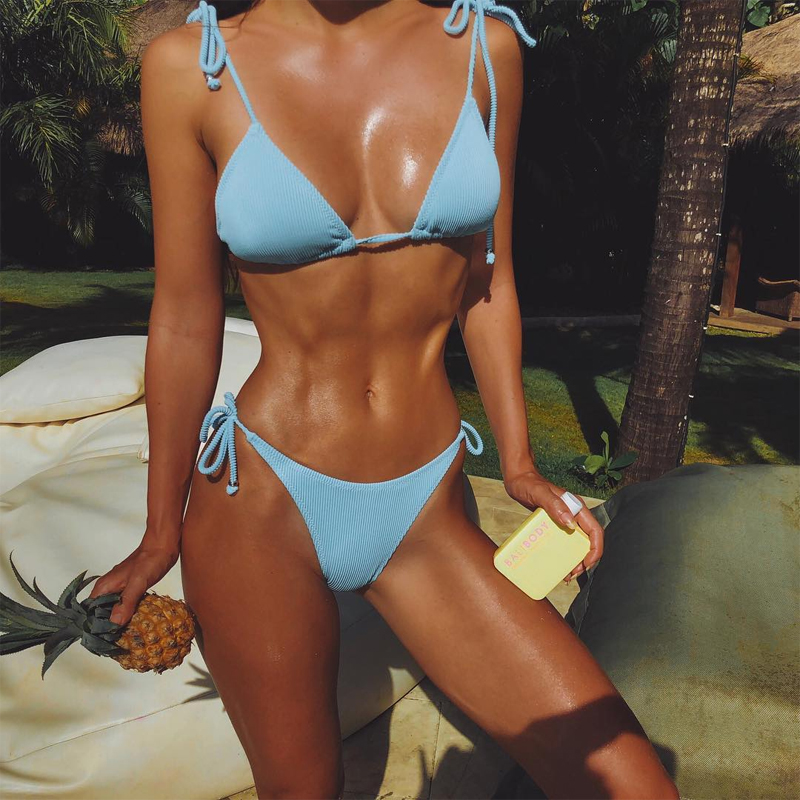 Conmoto 2019 Swimwear Summer Women Bikini Sets Sexy Casual Lace Up Solid Casual Blue Feminino Bathing Suit Bikinis