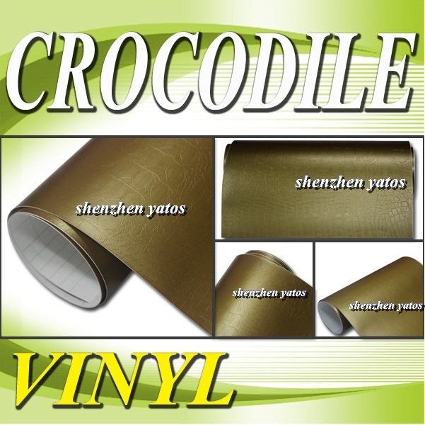 Gold Crocodile skin wrap sticker for car sticker   With Air bubbles 1.52x30M