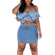 5e1f22960905aa Two Piece Set 2019 Summer Women Crop Tops And Mini Skirts Sets 2pcs Blue  Denim Outfits 2 Piece Sets Women Jeans Matching Sets