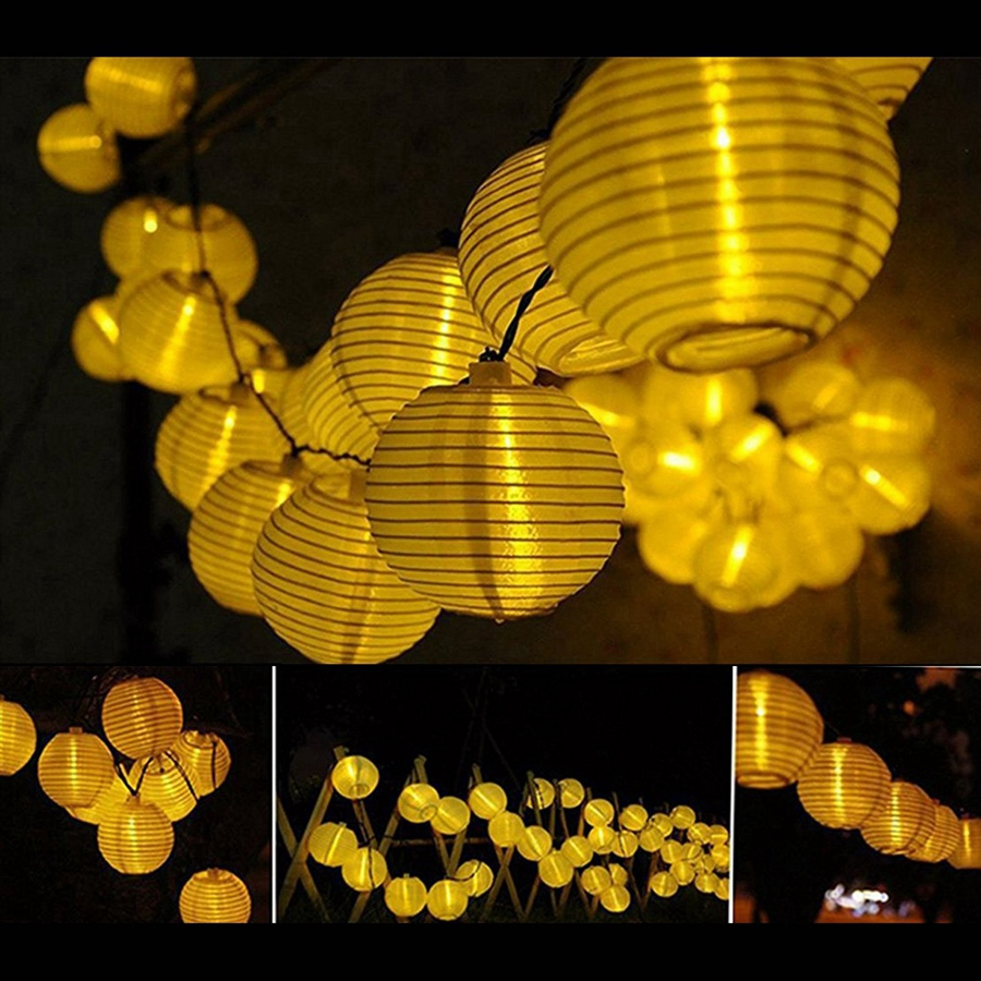 YINGTOUMAN 2018 Paper Lantern Solar String Lights Strip Lamp Garden Wedding Holiday Christmas Party Decoration Lamp 4.8m 20LED