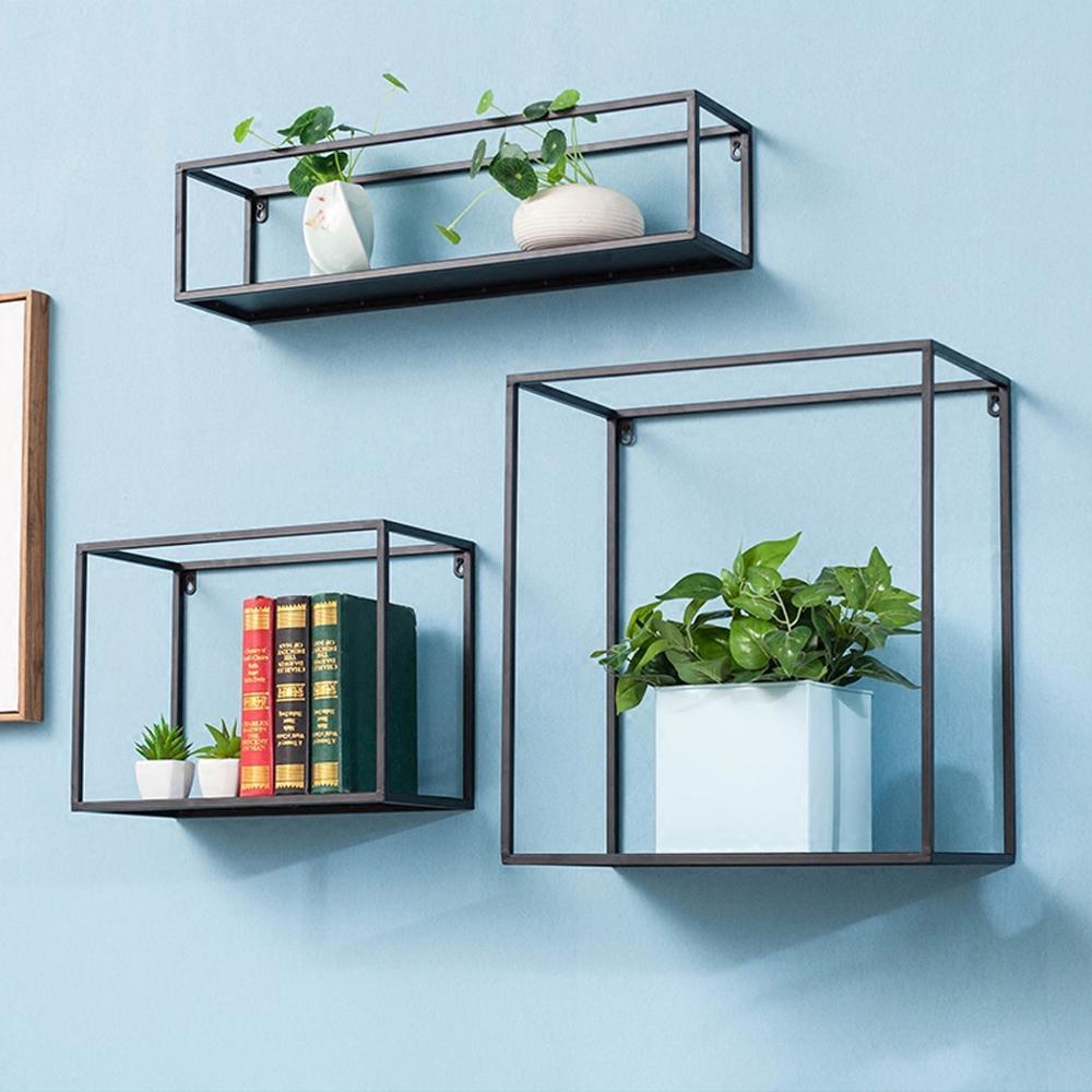 3pcs Floating Shelves set Bookshelf Wall Mount Shelf Display Home Decor Square